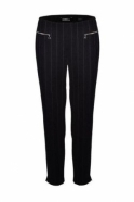 Robell Mimi Pin Stripe Full Length Trousers - Black -52476-54820-90