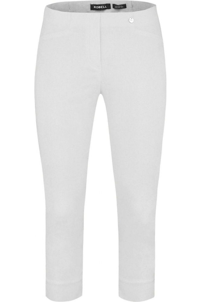Robell Rose 07 Cropped Trousers White 10 - 51636-5499-10