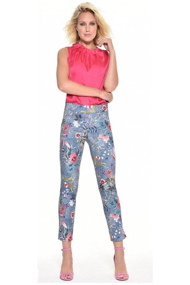Robell Rose 09 7/8 Chambray Floral Print Trousers - 52660-54686-62