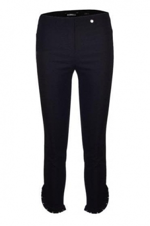 Rose 09 7/8  Pleated Stud Detail Trousers - Black 90 - 51621-5499-90
