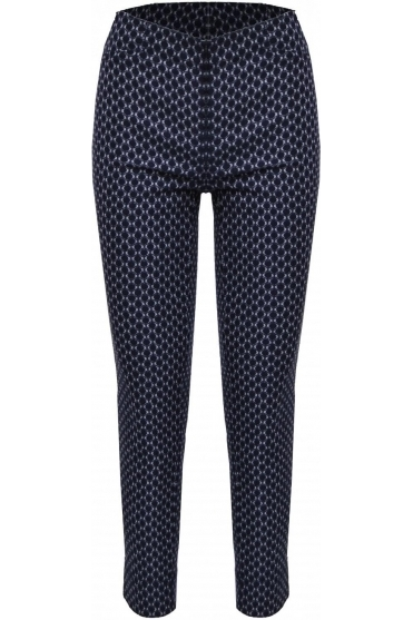 Rose 7/8 Print Trousers (Navy/White) - 51527-54271-69