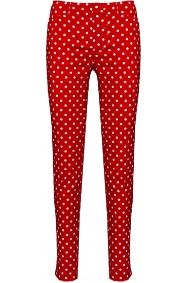 Rose Spot Print Trousers - Red - 52624-54570-40