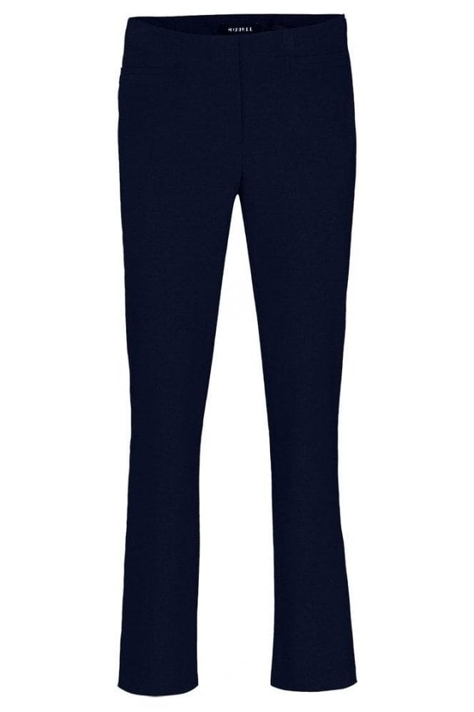 Robell Tailored Straight Leg Short Jacklyn Trousers - Navy - 51408-5689-69