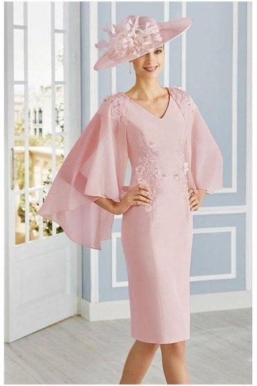 Chiffon Cape Detail Dress - Rose - 4G189