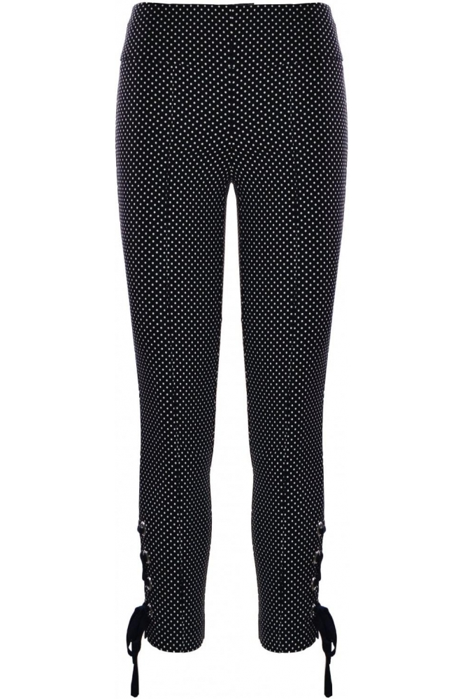 Tia Polka Dot Print Trousers - Black - 71254-7326-90