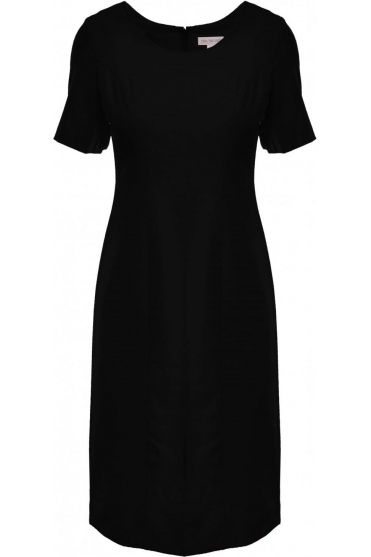 Short Sleeve Shift Dress - Black - 537331