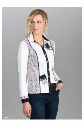 Abstract Print Contrast Rima Shirt - White - Rima