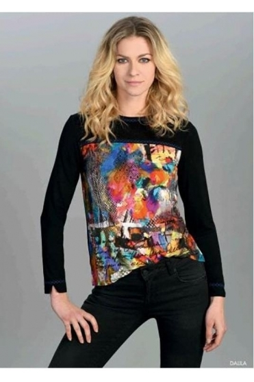 Abstract Print Dalila Top - Black - Dalila