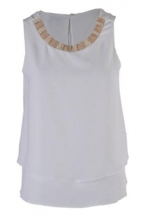 Bead Embellished Sleeveless Mei Blouse - Cream - Mei