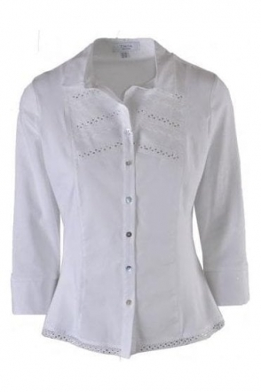 Diamanté & Lace Detail Cayetana Shirt - White - Cayetana