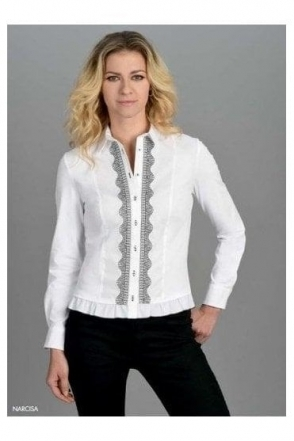 Frill Trim Embroidered Detail Narcisa Shirt - White/Black - Narcisa