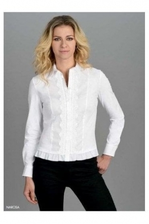 Frill Trim Embroidered Detail Narcisa Shirt - White - Narcisa