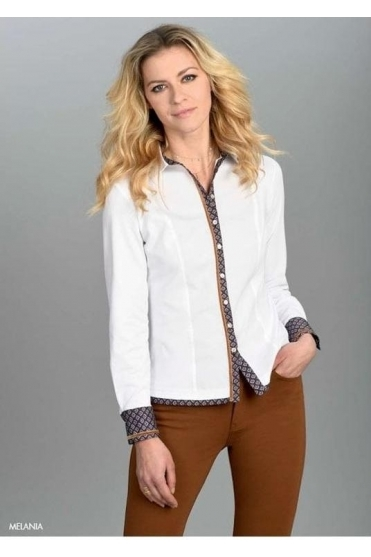 Geometric Trim Melania Shirt - White - Melania