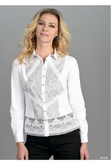 Lace Detail Contrast Noor Shirt - White - Noor