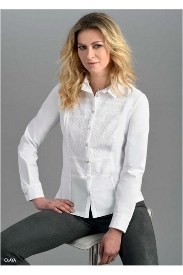 Lace Panel Contrast Olaya Shirt - White - Olaya