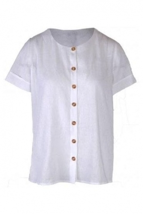 Linen Blend Button Detail Blouse - White - Nubia