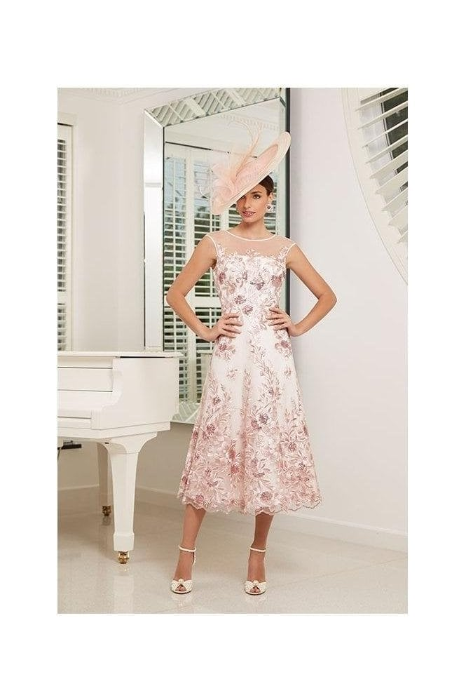 Veni Infantino Embroidered Floral Detail Dress - Blush/Ivory - 991532