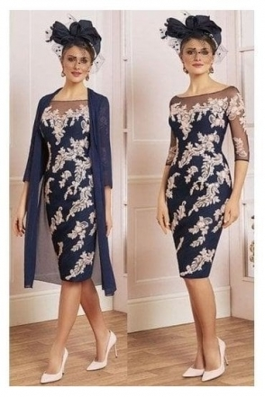 Lace Detail Two Piece - French Navy/Antique Rose - 991489