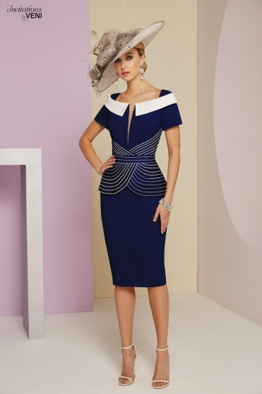 Linear 3/4 Sleeve Embellished Detail Dress (Navy) - 991403B