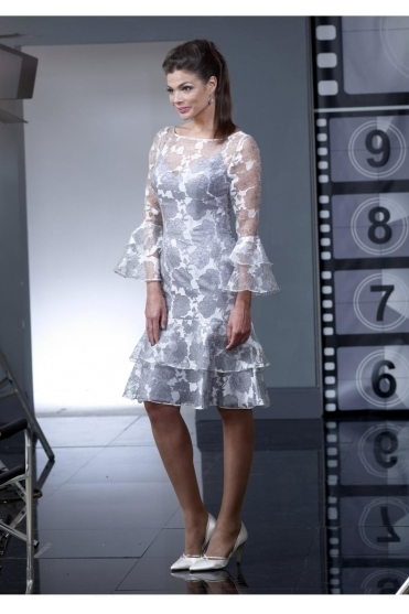 *CLEARANCE SALE NO RETURN* | Overlay Bell Sleeves Dress - Silver - VO2212