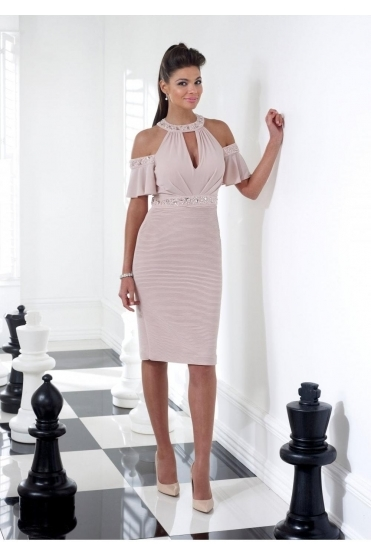 Cold Shoulder Embellished Dress (Rose) - VO62G
