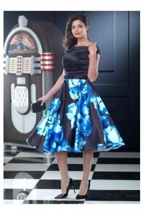 Floral Print Off The Shoulder Dress (Black/Blue) - VO2210A8