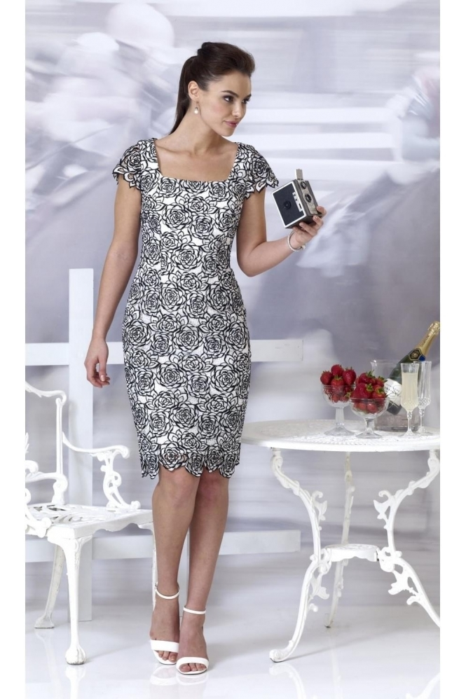 Veromia Monochrome Floral Lace Dress - VO486