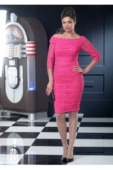 Ruched Lace Detail Dress (Fuchsia) - VO3006