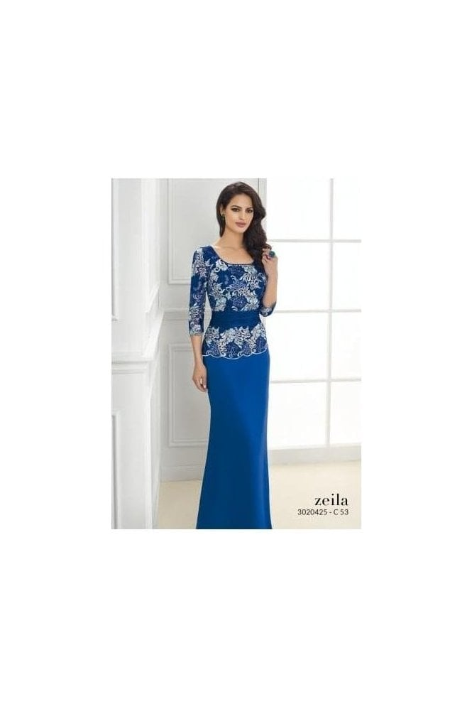 Zeila Embroidered Peplum Gown - 3020425