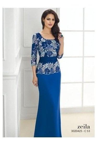 Embroidered Peplum Gown - 3020425