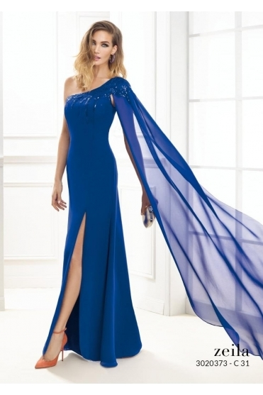 One Shoulder Chiffon Gown - 3020373